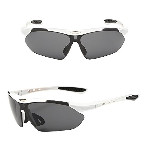 KXN Fashion Polarized Cycling Outdoor Sports Sunglasses Goggles for men women Baseball Running Cycling Fishing Golf - White Glasses Cycling