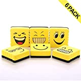 6 Pcs Magnetic Dry Whiteboard Eraser, Smiley Face
