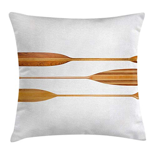 Krui-LR Oar Throw Pillow Cushion Cover by, Three Traditional Wooden Canoe Paddles with Different Shape of Blades Exotic Sports, Decorative Square Accent Pillow Case, 18 X 18 Inches, Sand Brown