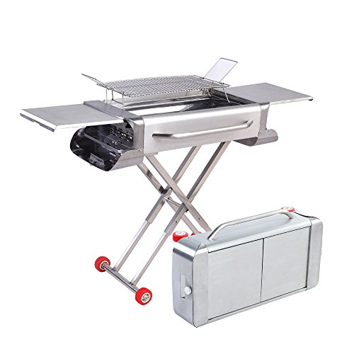 comfyoutdoor Portable Charcoal Grill Folding Barbecue Grill, Thickened Stainless Steel Grill,Grilling for Outdoor Cooking,Camping and Tailgating.
