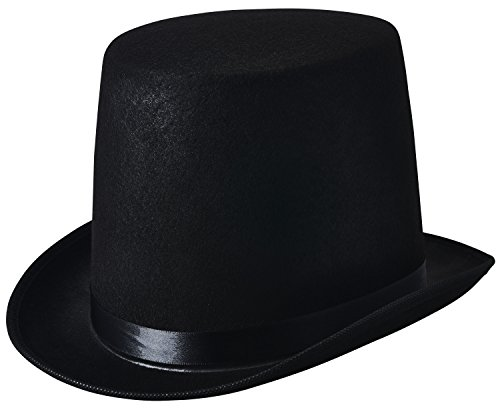 [NJ Novelty - Black Top Hat, Tall Party Hat Costume Dress Up Accessory (Black - 1 Pack)] (Snowman Costume Hat)