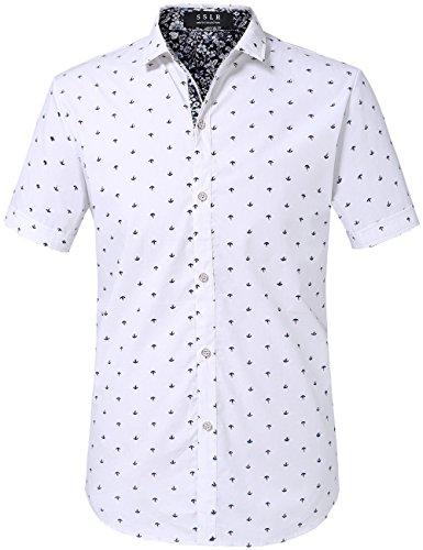 SSLR Men's Printed Regular-Fit 100% Cotton Short Sleeve Casual Shirts (Large, White -