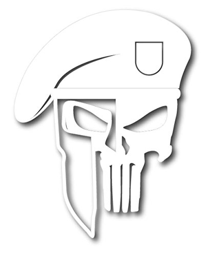 The Punisher Pc Costumes (6010 Punisher Skull with Spartan Helmet and Beret white die cut vinyl decal)