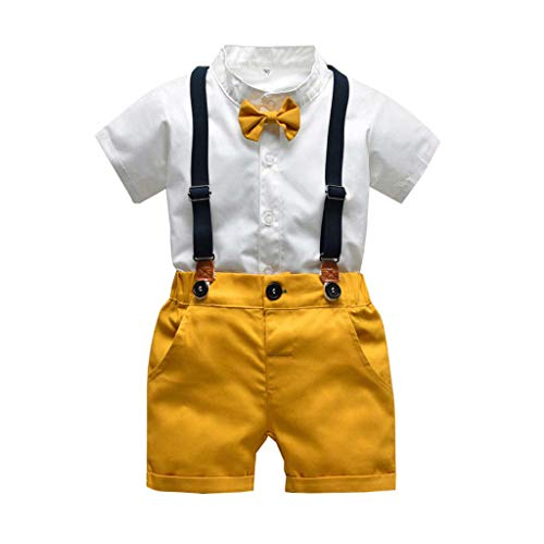- RAINED-Baby Boys Gentleman Outfits Suits, Infant Short Sleeve Shirt+Bib Pants+Bow Tie Overalls Clothes Set 4th of July (2-3 Years, White)