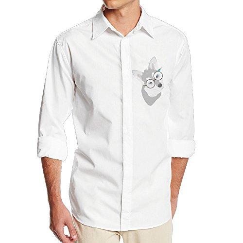 CSECGAR Husky Dog Mens Long Sleeve Button Down Collar Dress Shirt