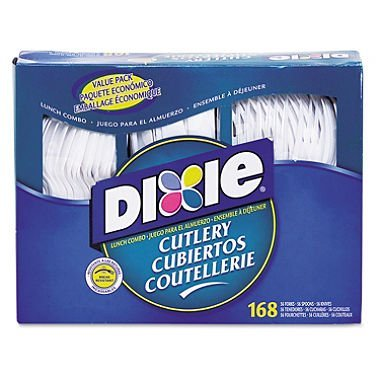 Dixie Combo Pack, Tray w/Plastic Forks, Knives, Spoons, 168 Utensils (DXECM168) by Dixie