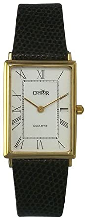 Condor 14kt Solid Gold Mens Swiss Strap Watch White Dial 14k Quartz GS127-20