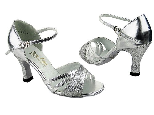 Ladies Women Ballroom Dance Shoes for Latin Salsa Tango Classic 6030 Silver Stardust & SL 2.5 LZlEs0pbr