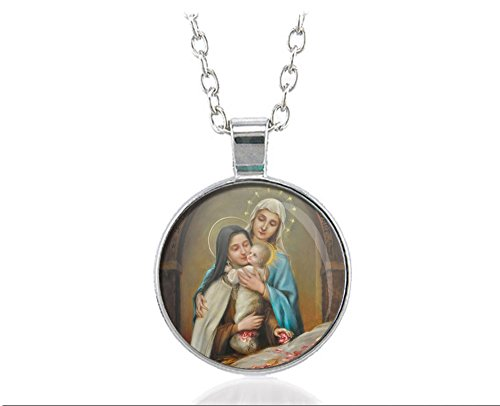 St Therese Of Lisieux Our Lady Baby Jesus Religious Necklace Round (St Therese Infant Jesus)