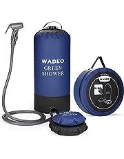 WADEO Ducha de campamento portátil de 15 l de 4 galones al aire libre bolsa de ducha a presión con bomba de pie y boquilla de ducha para playa, natación, viajes, senderismo, mochila