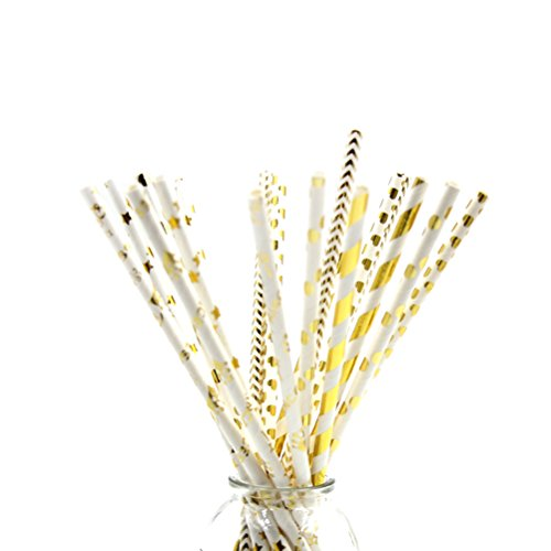 NUOLUX Paper Straws with Star Strip Dot Wave Pattern for Party,Gold,100 PCS ()