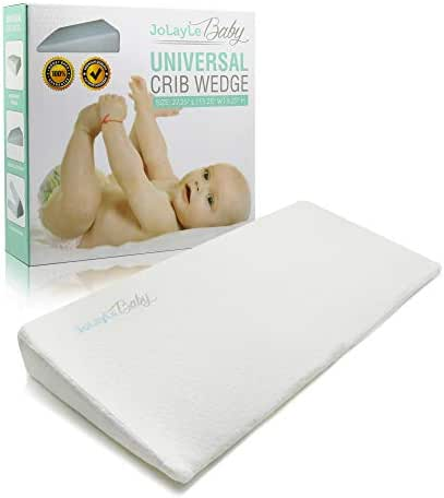 Crib Wedge for Reflux - Baby Wedge Sleep Positioner for Better Baby Sleep, Extra Soft Washable & Waterproof Cover - White Baby Wedge Pillow by JoLayLe Baby