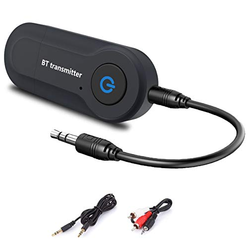 Bluetooth Wireless Transmitter Portable V4.2 USB BT Adapter Wireless Transmitter Connected to 3.5mm Audio Receiver Devices Low Latency Paired for PC TV Headphones Home Stereo Music