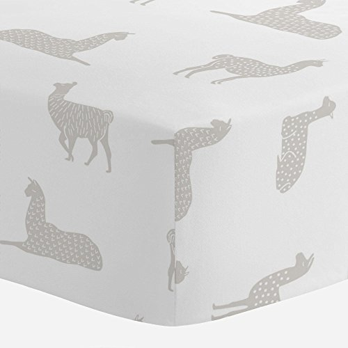 Carousel Designs French Gray Llamas Crib Sheet - Organic 100% Cotton Fitted Crib Sheet - Made in the (Antique Baby Bedding)