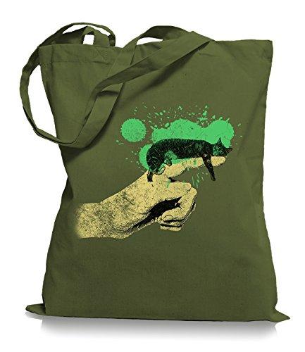 Ma2ca® Cat on Hand Katzen - Jutebeutel Stoffbeutel Tragetasche / Bag WM101 Olive Green HQeY0Gh
