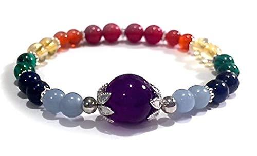 (Handmade Amethyst Chakra Healing Bracelet 7 inches. Crystal, Gemstone )
