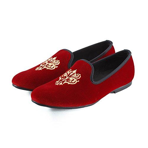 Journey West Mens Vintage Velvet Embroidery Noble Loafer Shoes Slip-On Loafer Smoking Slipper Black/Red/Blue Red 7dVgsCKE