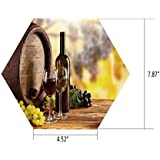 iPrint Hexagon Wall Sticker,Mural Decal,Wine,Red and White Wine Bottle Glass on Wooden Keg Quality Taste Traditional Decorative,Brown Light Green Yellow,for Home Decor 4.52x7.87 10 Pcs/Set