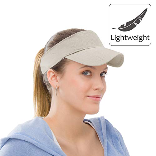 - Sun Visor Sports Cotton Twill Plain Hat with Adjustable Strap for Men Women Outdoor Golf Tennis Running Jogging Hiking