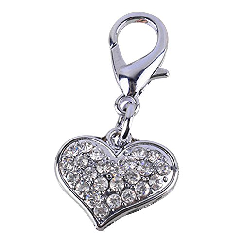 ZX101 Fashion Couture Designer Bling Rhinestone Heart Tags Pet Cat Dog Necklace Collar Charm Pendant Jewelry Pet Accessories (Silver) (Dog Rhinestone Charm Collar)
