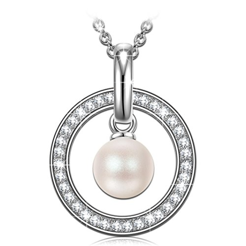 (PN PRINCESS NINA Women Sterling Silver Swarovski Pearl Crystals Pendant Necklace for Valentine Jewelry for Her Birthday Gifts for Wife)