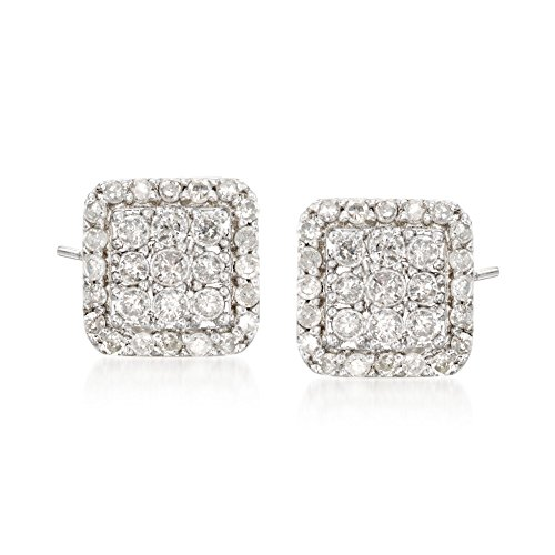 Ross-Simons 0.50 ct. t.w. Diamond Square-Shaped Stud Earrings in Sterling (Diamond Square Shaped Earrings)