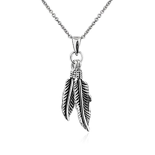 """925 Sterling Silver Double Dangle Feathers Simple Pendant Necklace, 18"""""""