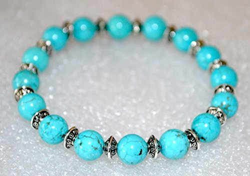 (Turquoise mala beads Reiki healing stretch bracelet Handcrafted Blessed & Energized to infuse Healing and Correct Inner Doshas 8 mm beads | US Seller)