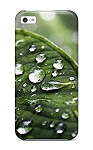 New Arrival Cover Case With Nice Design For Iphone 5c- Water Drops On Green Leaf