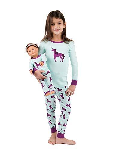 As A Girl For Halloween (Leveret Kids & Toddler Pajamas Matching Doll & Girls Pajamas 100% Cotton Christmas Pjs Set (Unicorn,Size 8)