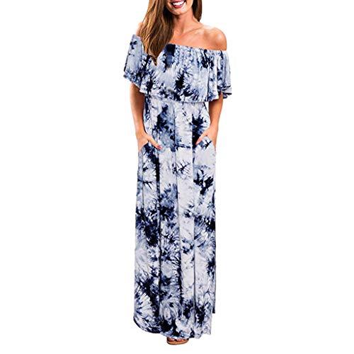 NEARTIME Party Long Dress, Women Summer Sexy Off Shoulder Dress Loose Ruffle Party Tie Dye Split Maxi Long Dress ()