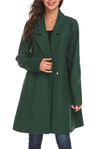 Soteer Women's Long Notched Lapel Open Front Wool Blended Pea Coat With Pocket, Deep Green L (Wills Coat)