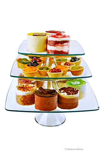 (Set 3-Tier Square Glass Wedding Pedestal Pastry Dessert Cake Stands (12