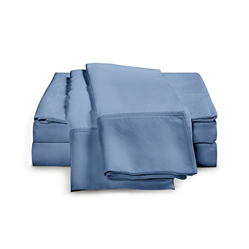 Blue Single Set (100% Egyptian Cotton Sheet Set - 1000 Thread Count | Hotel Luxury Single Ply - Sateen Weave | Set Includes One Flat Sheet, One Fitted Sheet & Two Pillowcases, Queen, Medium Blue)