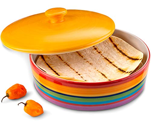 (Ceramic Tortilla Warmer by KooK, Colorful Design, Holds up to 12 tortillas)