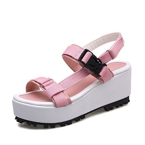 VogueZone009 Material Klettverschluss Damen weichem Toe Kitten und Wedges Open Pink aus Heels qrR1qFpna