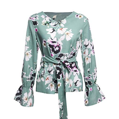 Imprim Vert Floral Taille Bringbring Tops Manches Blouse Cravate Femme lgant Longues Chemisier Z15qKcM7