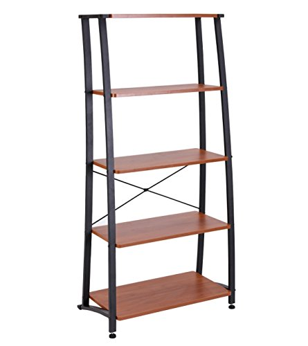 - FIVEGIVEN 5 Shelf Ladder Bookshelf Tall Industrial Bookcases and Book Shelves Sonoma Cherry