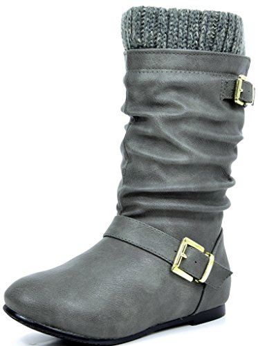 DREAM PAIRS Little Kid KLOUCH Grey Knit Sweater Knee High Winter Boots - 11 M US Little Kid