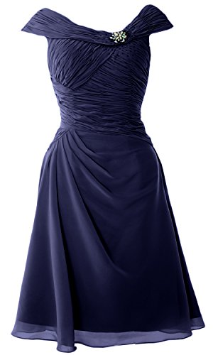 MACloth Cap Sleeves Boat Neck Cocktail Dress Short Mother of the Bride Dress Azul Marino Oscuro