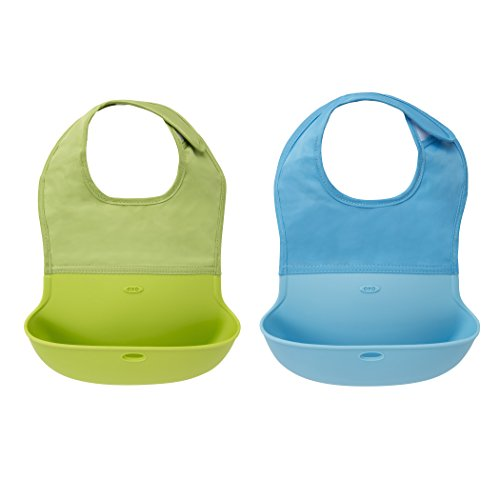 OXO Tot Waterproof Silicone Roll Up Bib with Comfort-Fit Fabric Neck, 2 Pack, Green/Aqua