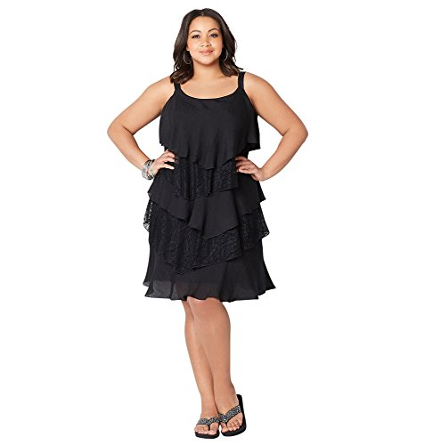 - Avenue Women's Tiered Lace Crinkle A-Line Dress, 22/24 Black
