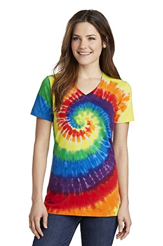 Port & Company Women's Essential Tie-Dye V-Neck Tee LPC147V Rainbow Large from PORT AND COMPANY