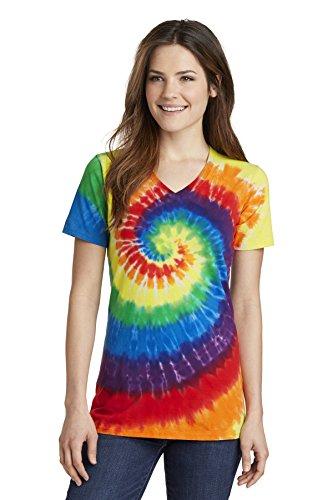 Port & Company Women's Essential Tie-Dye V-Neck Tee LPC147V, Rainbow, Medium