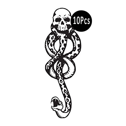 DaLin Temporary Tattoos 10Pcs Death Eaters Dark Mark Mamba Skull Temporary Tattoo for Costume Accessories and Parties ()