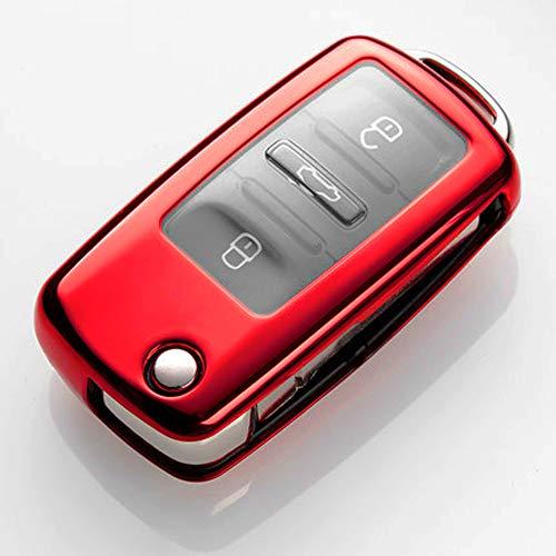 (QBUC for VW Volkswagen Key Fob Cover, Soft TPU Full Protection Key Holder Key Case Car Key Protector for Volkswagen Tiguan Touareg Bora LaVida Sagitar Jetta POLO Santana Skoda Passat Golf etc(Red))