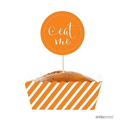[Andaz Press Party Favors Kit with Rectangle Mini Cupcake Baking Loaf Pans and DIY Toppers, Eat Me, Orange, 12-Pack, For Halloween Dessert] (Diy Halloween Decor)