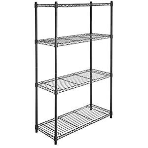AmazonBasics 4-Shelf Shelving Unit on 3'' Casters, Black
