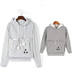 Family Matching Cat Ear Big Kangaroo Pouch Hoodie Long Sleeve Pet Cat Dog Holder Carrier Sweatshirt (Kids-150cm, Light Gray-Kids)