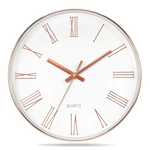 Color Map Products-12 Inch Morden Decorative Silent Non-Ticking Quartz Wall Clock for Living Room/Kitcken/Office/School/Bathroom,Plastic Frame Glass Cover and Battery Opera(Rose-gold) (Roman numerals) (Gold Clock White White)